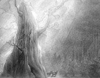 """lead pencil, drawing """"Oak Tree"""""""
