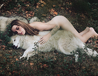 The young lady and wolves