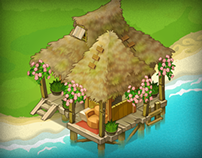 Buildings and objects for island location of Oasis game