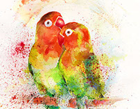 """ Love Birds""-Watercolor"