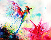 Hummingbird-Watercolor