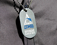 Etched Metal Dog Tags for Hawks Football