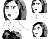 Black & White Portraits Illustration