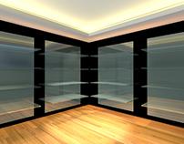 Glass shelves in empty room