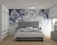 Kobieca sypialnia z tapetą