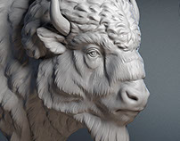 American bison head sculpture. 3D model