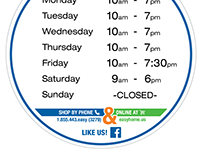 Store Hours sign - easyhome