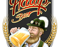Label design for Hawp bier.