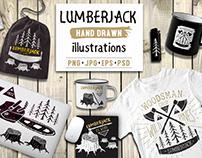 Lumberjack illustrations set