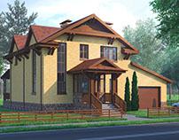 2-Storey Mansard Brick House in Belgorod, Russia