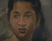 Portrait in Oil & Watercolour