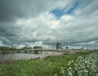 Dutch Mills at Kinderdijk. a long exposure study