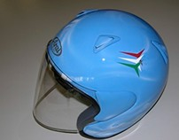 """Frecce Tricolori"" airbrush paint theme on a jet Helmet"