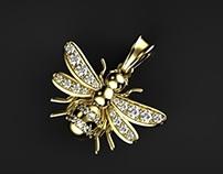 Bumble bee diamond charm