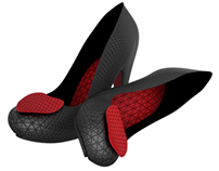 Shoe of Hearts Heel in Black - 3D Modeling