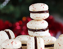 Pink peppercorn and raspberry chocolate macarons