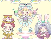 Game Character Design-Harajuku girls