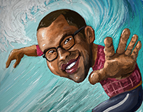 Caricature of Jordan Peele, using WetBrush