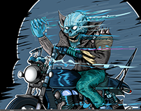 Winter Rider, #biker #skull #motorcycle #illustration
