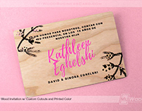 Cherry Wood Custom Printed Invitation with Cutout Areas