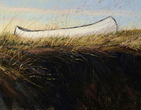 Canoe on the Salt Marsh.Near Castle Hill