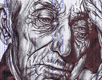 'the cost of hope' Bic biro drawing on 1934 stock...