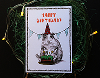Postcard Illustration/ Cute Animals Birthday Postcards