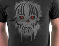 Bleeding Skull - Modern Skull T-Shirt Design with Blood