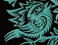 Papercut designs: two birds in green color