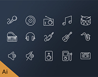 Free music line icons