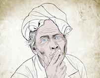 Smoking man drawing