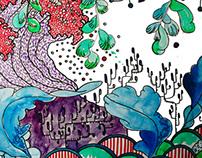 japanese garden - watercolour illustration