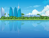 Baku City Illustration, Vector