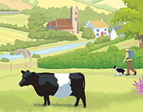 Illustration of Grassland habitat UK