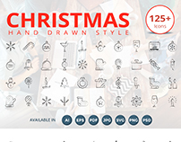 125 Christmas Hand Drawn Style Icons