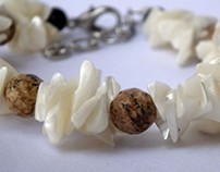 moonstone bracelets with shell , colored crystals