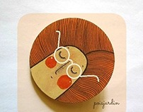 Handpainted wooden brooch