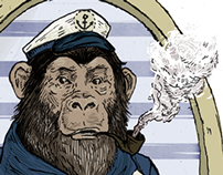 Chimpanzee Admiral Illustration