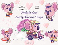 Koala in Love, Valentine's Day Clip Art