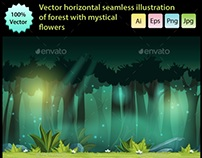 Horizontal Seamless Forest with Mystical Flowers