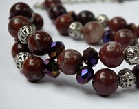 red tiger eye stone bracelets with , colored crystals