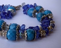 hand made bracelets with colored crystals