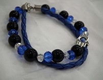 hand made bracelets with colored crystals and lather