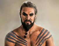 Portrait of Jason Momoa as Khal Drogo (Game of Thrones)