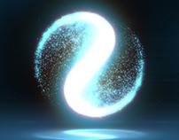 Glowing Circular Yin Yang Particle Background