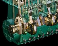 MAN 12K98MC-C Marine Diesel Engine ... cutaway set