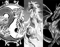 Mythical Animals and Gods- Charcoal Sketch Commission