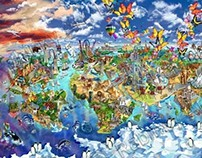World Map illustration of world wonders