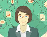 Modern Business Woman Concept