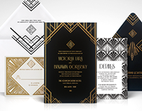 Gold and Black Gatsby Art Deco Invitation